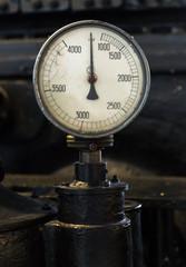 Vintage tachometer. Part of old power plant.