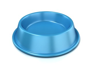 Blue empty pet bowl, 3D render illustration, isolated on white