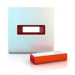 Minus sign. 3D render illustration, isolated on white. Front