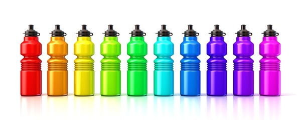 Colorful sport plastic water bottles. 3D render isolated