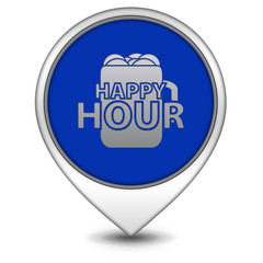 Happy hour pointer icon on white background