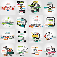 Hand-drawn vector symbols with infographic elements