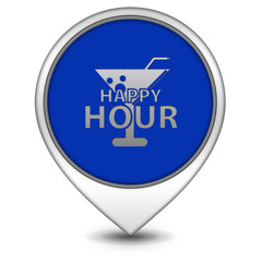 Happy hour pointer icon on white background