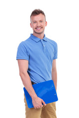 young man holding a clipboard