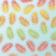 Multicolor palm leaves as background