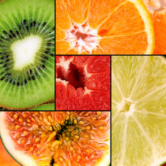 Tasty fruits in colorful collage