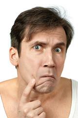 Men squeezing a pimple
