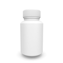 White plastic medical container for pills or capsules