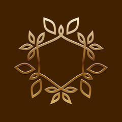 Vector Antique Golden design.Line art logo template.