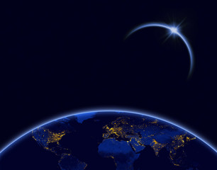 Planet earth and solar eclipse in blue color
