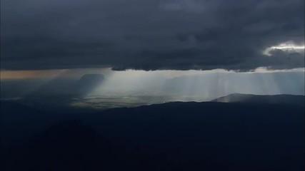 Plains Plateau Valley Clouds Sunlight