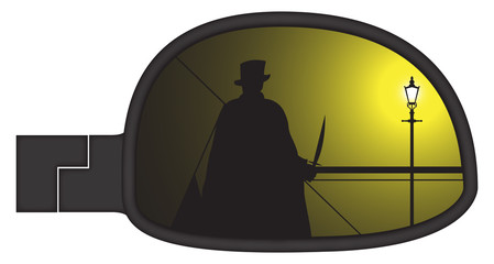 Jack The Ripper In Smashed Car Side Mirror
