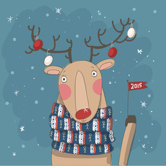 Christmas Card. Cute reindeer in scarf with flag 2015 on it
