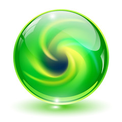 3D crystal, glass sphere green