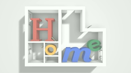 3d animation of neon enlightened Home letters