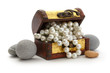 Wooden chest with white pearl necklace - 76716898