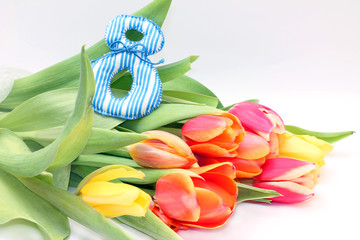 Bouquet of tulips on International Women's Day