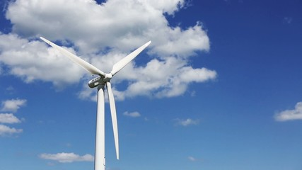 Wind turbines and sky with clouds, video