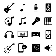 Set of flat media icons - audio, music and sound related signs