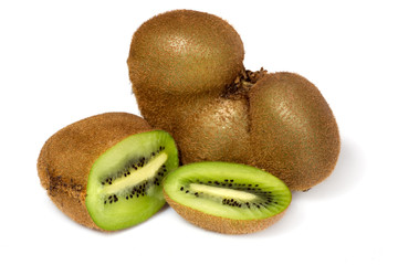 Fresh piece kiwi fruit isolated on white (sort butterfly)