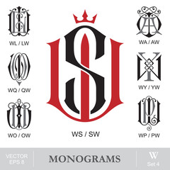 Vintage Monograms WS WL WA WQ WY WO WP