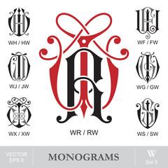 Vintage Monograms WR WH WF WJ WG WX WS