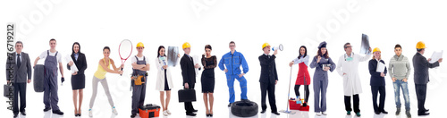 Leinwanddruck Bild Group of industrial workers. Isolated on white background.