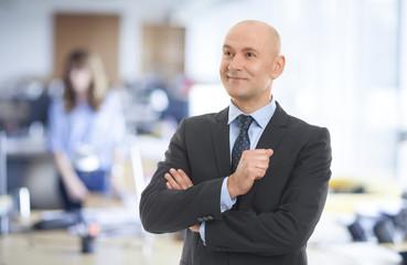 Close up portrait of a confident businessman