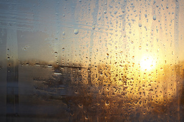 wet glass sunset, abstraction