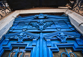 Blue faces in the door, Odessa