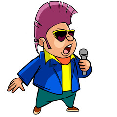 cartoon man with dark glasses, singing into a microphone
