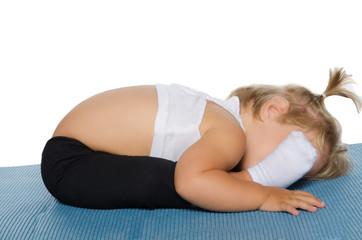 Little girl coached flexibility