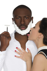 Asian licking foam from his dark men with razo