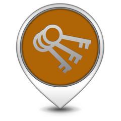 Key pointer icon on white background