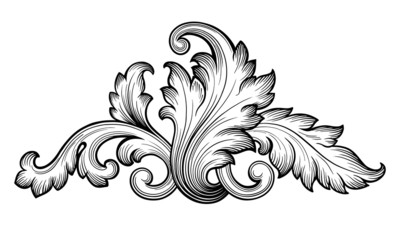 Vintage baroque foliage scroll ornament vector