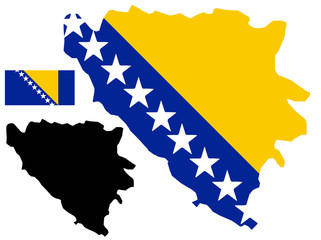Bosnia and Herzegovina map and flag vector