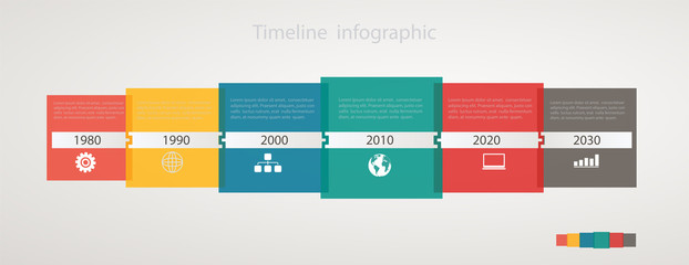 Infographic timeline with icons, step by step anual structure