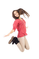 Beautiful teenage girl jumping