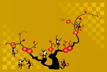 サルと梅の木