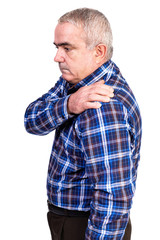 Portrait of old man suffering from  shoulder pain