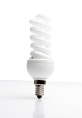 An energy saving bulb on white