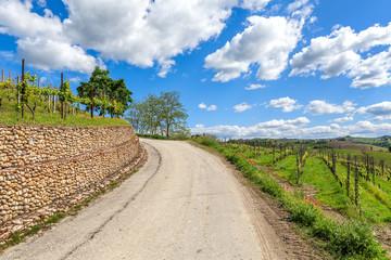 Rural road under blue sky in Piedmont, Italy.