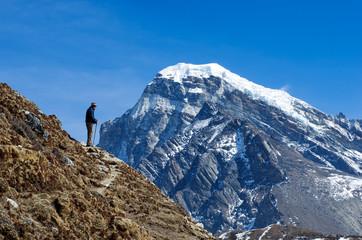 Tourist in mountains.   Nepal, Himalaya