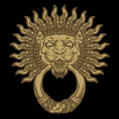 Golden lion head on black background. Door knocker. Vector
