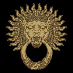 Golden lion head on black background. Door knocker. Vector