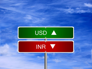INR USD Forex Sign