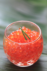 red caviar in the  glass