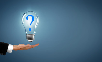 Lampe mit Fragezeichen
