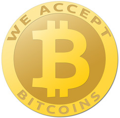 Golden bitcoin virtual currency.