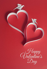 valentines day background with origami doves and papercraft hear